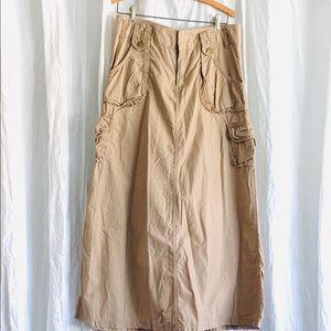 Long Tan Khaki Cargo Skirt